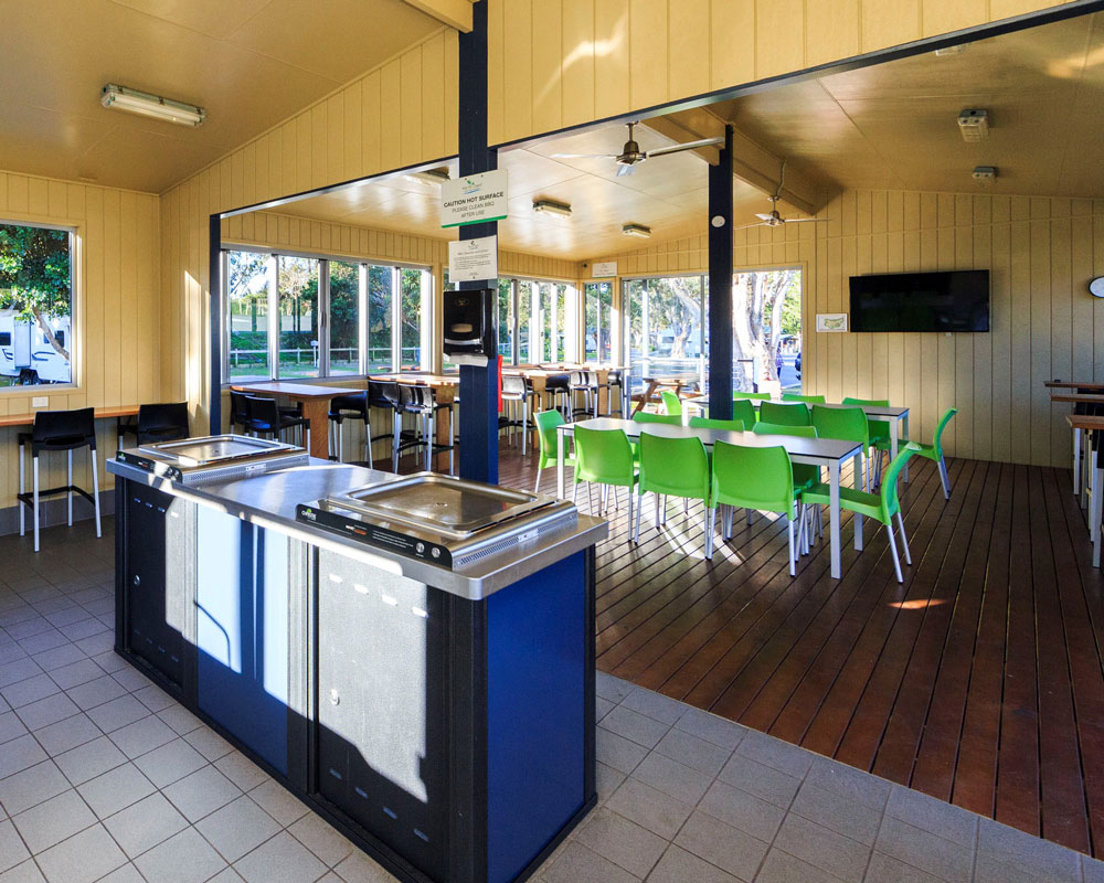 Camp kitchen and internal BBQ area at Scotts Head caravan park