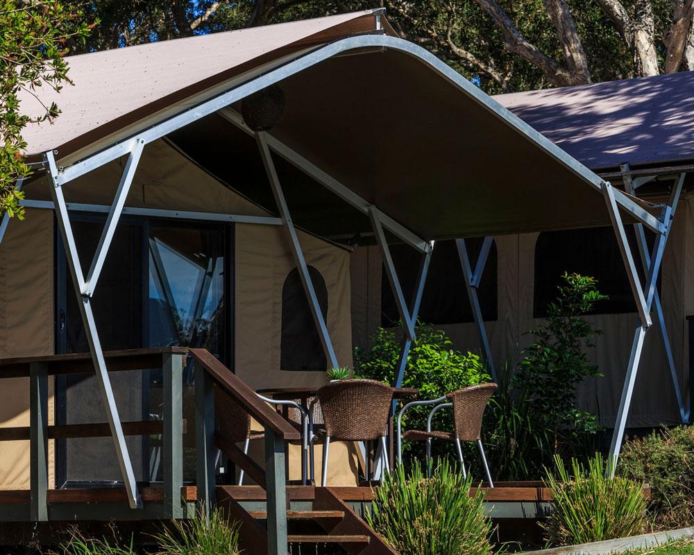 Glamping tent at Bonny Hills Holiday Park