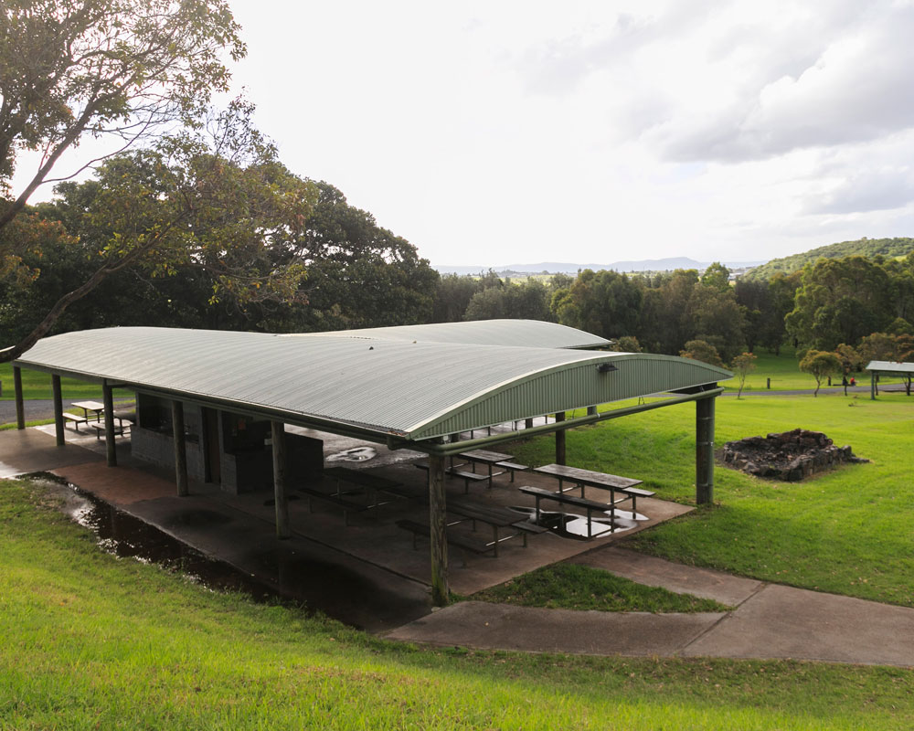 Covered seating area at Killalea camping ground