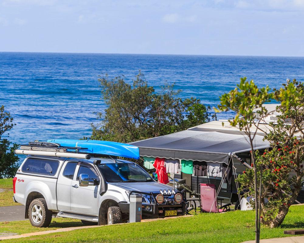Oceanside camp sites at Bonny Hills Holiday park