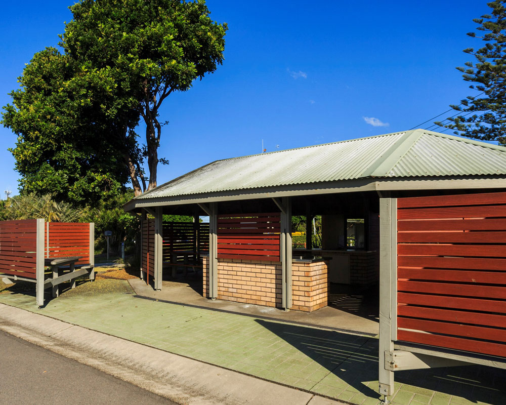 Camp kitchen building at Forster Beach caravan park