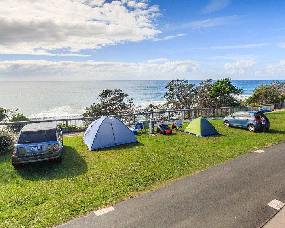 Beachside tent sites at Bonny Hills Holiday Park
