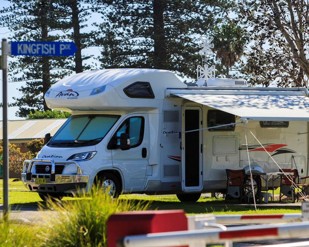 RV site at Forster Beach caravan park
