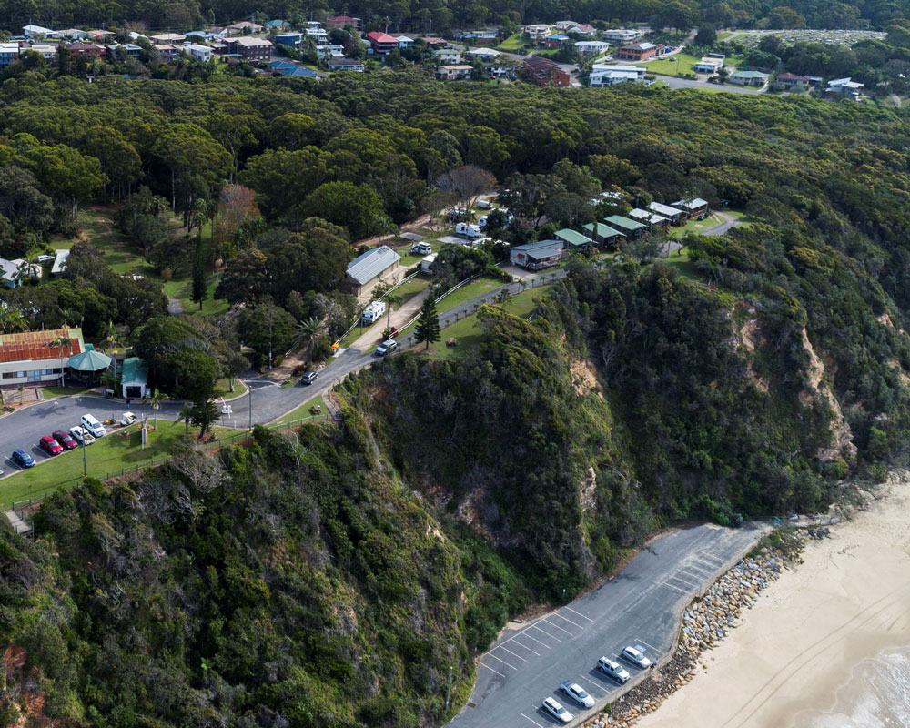 Aerial view of Nambucca Heads caravan park