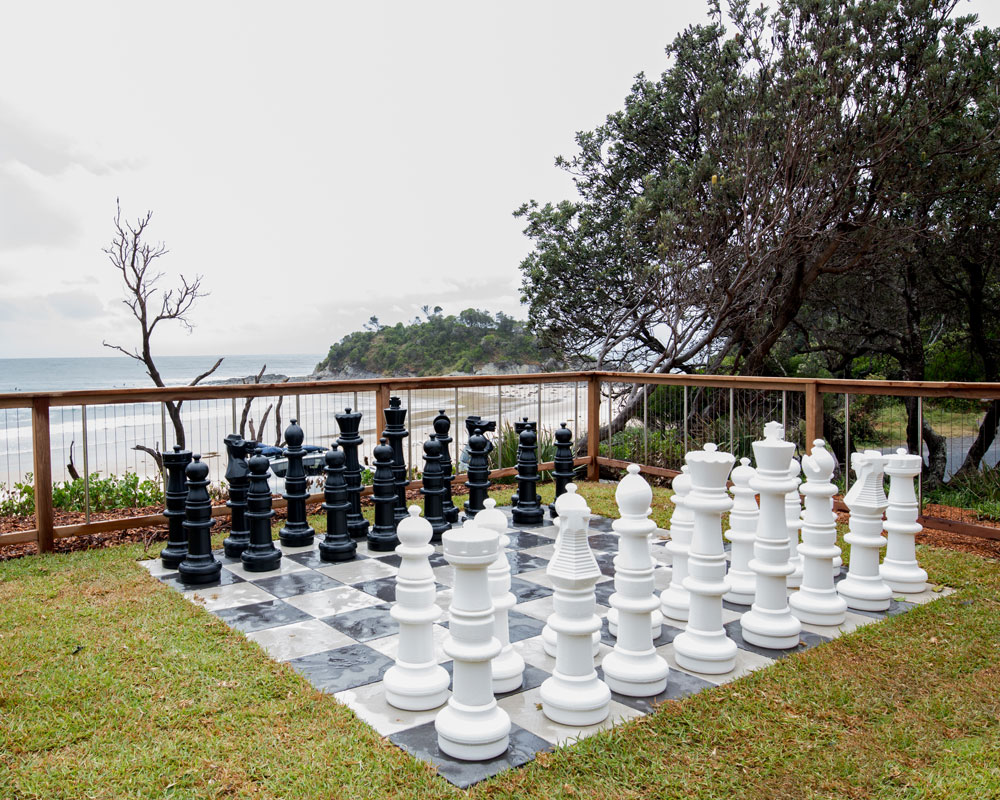 Outdoor chess at Seal Rocks Holiday Park