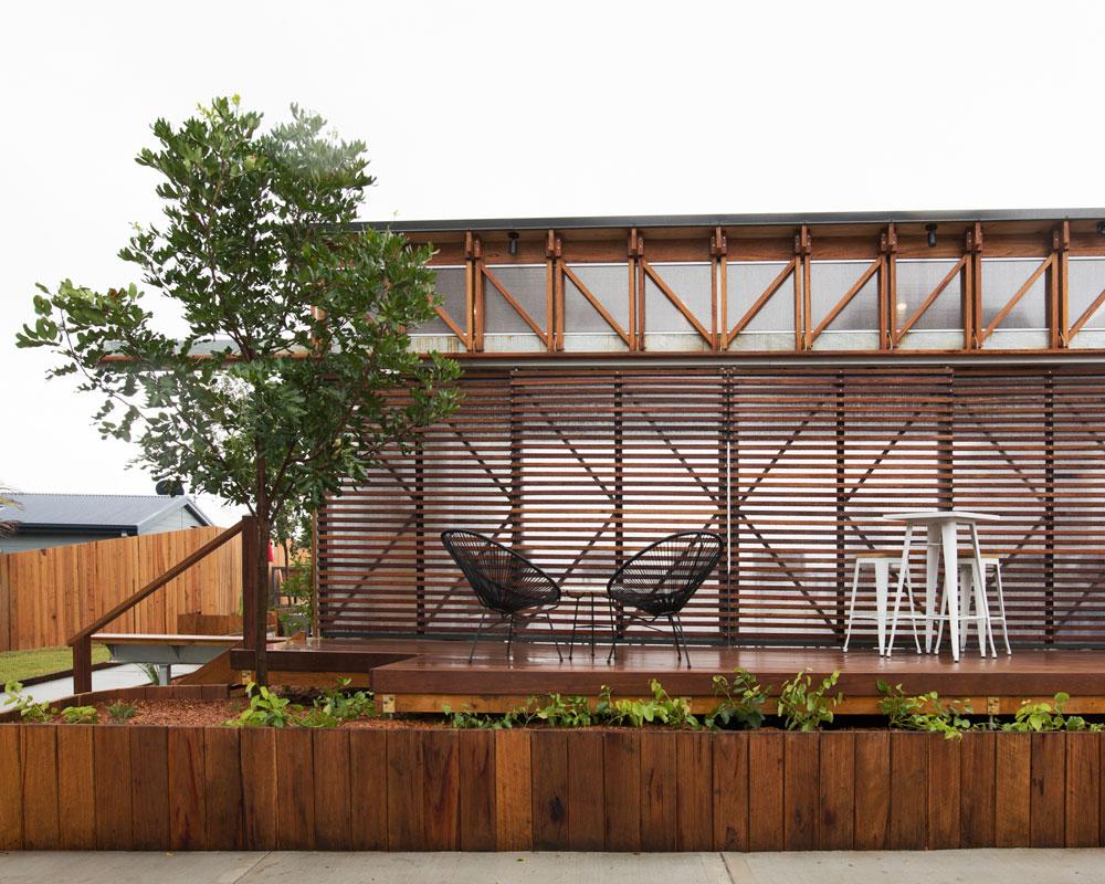 Cabin verandah at Seal Rocks Holiday Park