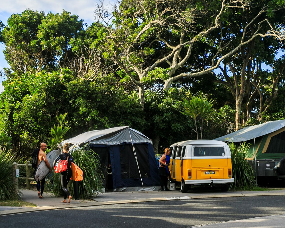 Beachside camping sites at Clarkes Beach caravan park