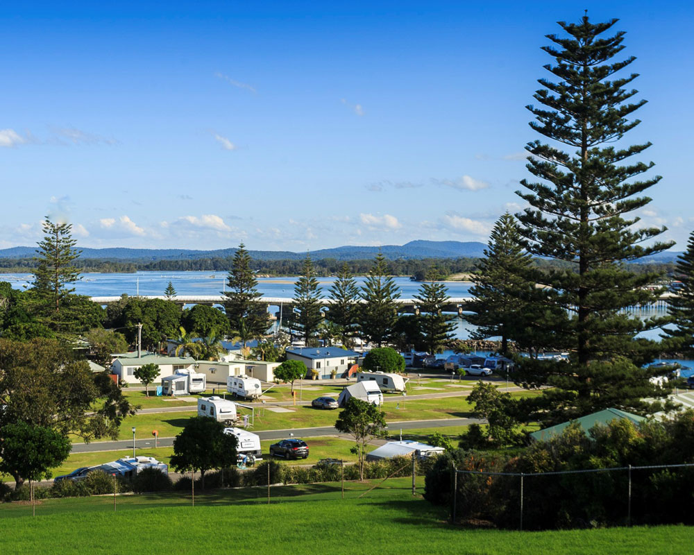 View of the park area at Forster Beach caravan park