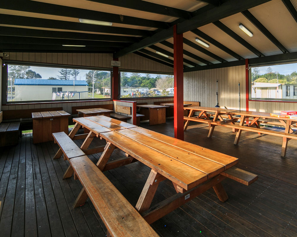 Camp kitchen dining area at Evans Head - Silver Sands caravan park