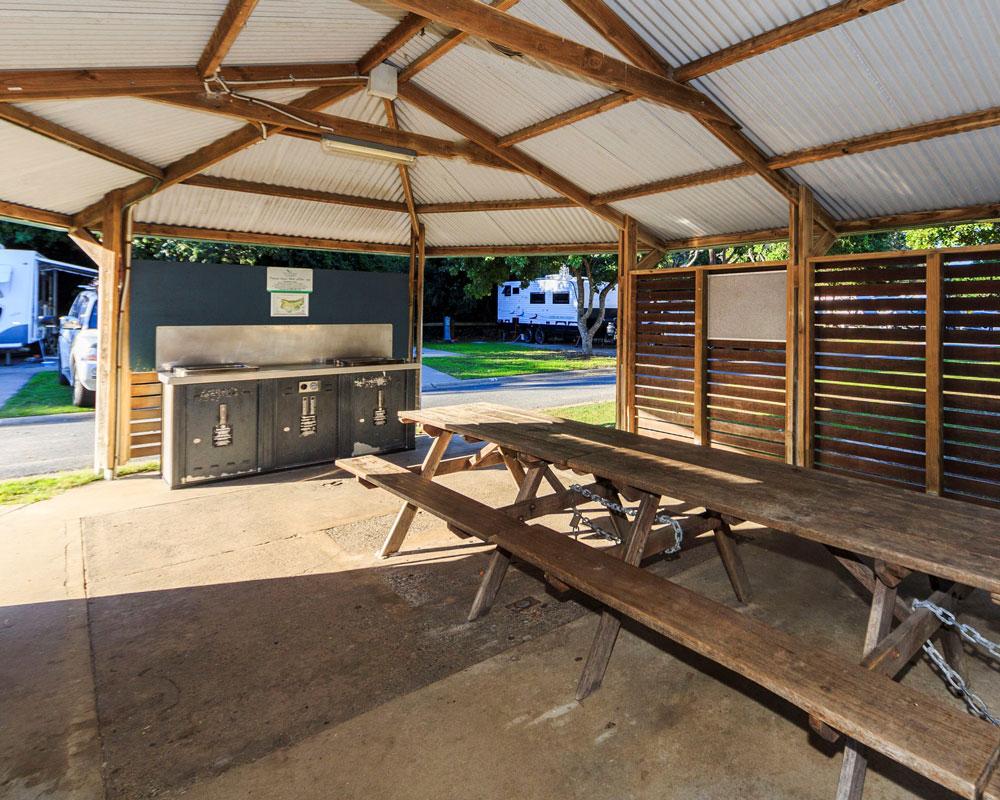 BBQ area at Scotts Head caravan park
