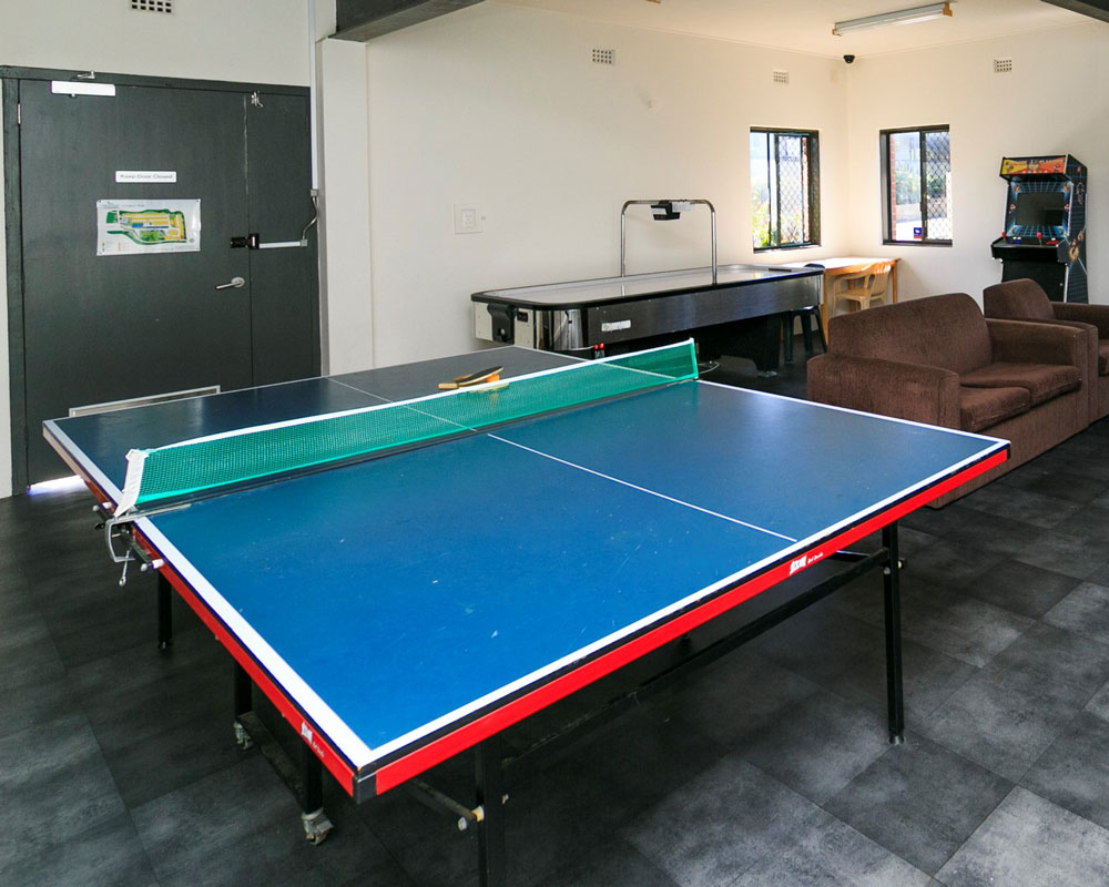 Games room at Shaws Bay caravan park