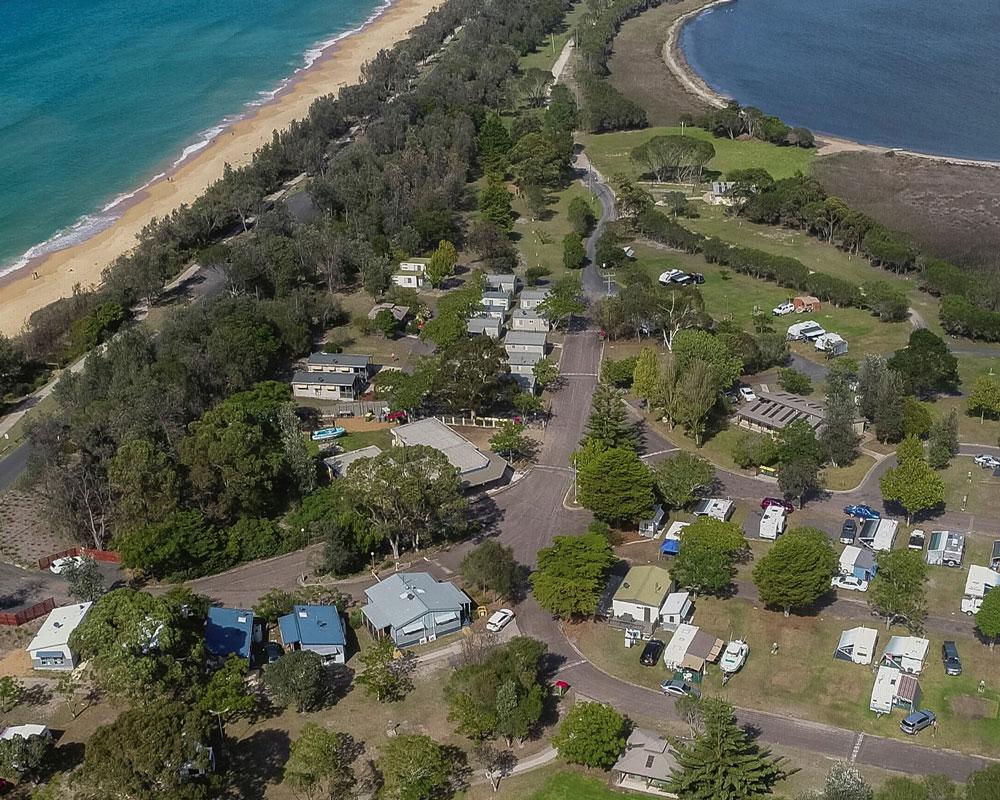 Aerial view of Garden of Eden caravan park