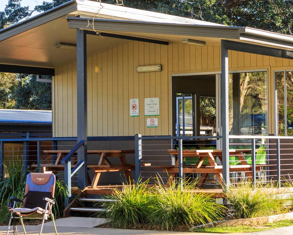 Camp kitchen area at Scotts Head caravan park