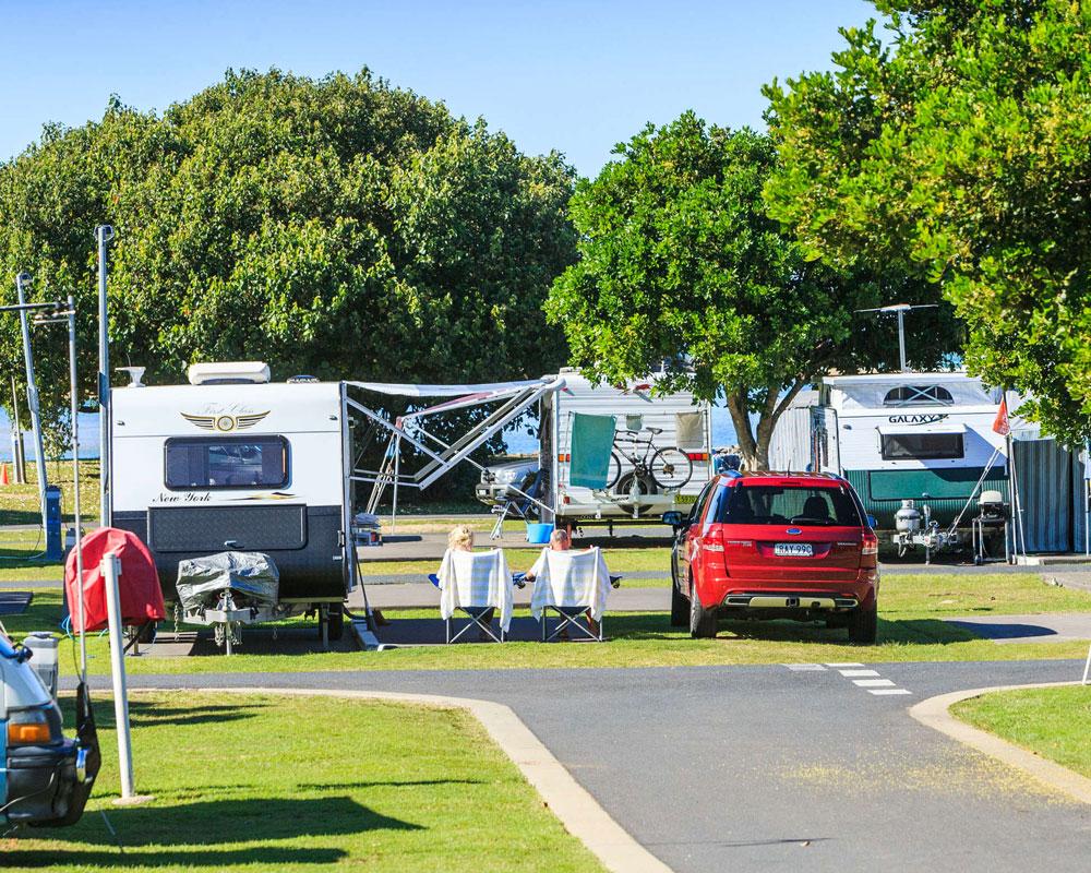 Caravan powered sites at Urunga Heads caravan park
