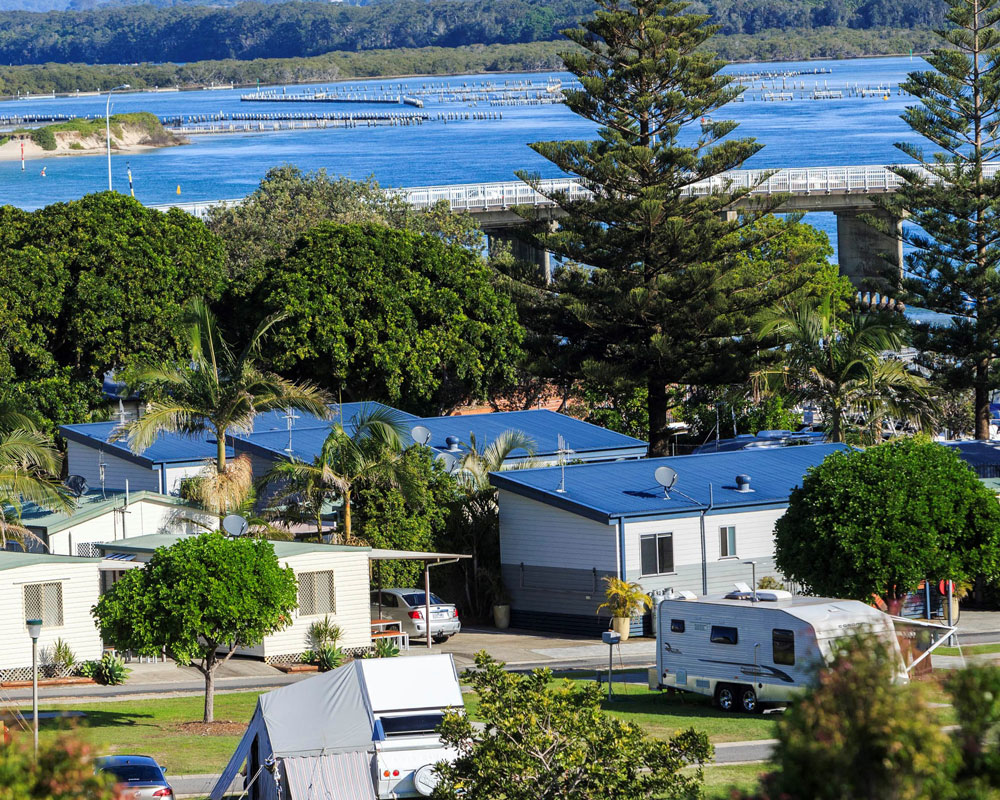 Water view from Forster Beach Caravan park